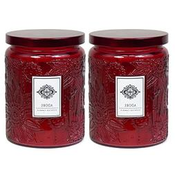 2 Aromatherapy Scented Candles - Adore - Two 16 Ounce Glass