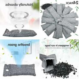24 Pack Bamboo Charcoal Air Purifying Bag For Shoes Natural