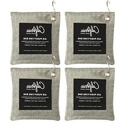 4-Pack Activated Bamboo Deodorizers, 200g Natural Odor Elimi