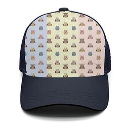 Casual Baseball Cap cate Owl Pattern-01 Style Adjustable Mes