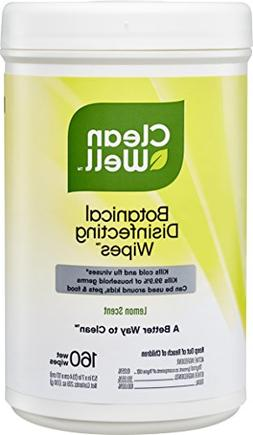 CleanWell Botanical Disinfecting Wipes - Lemon Scent, 160 Co
