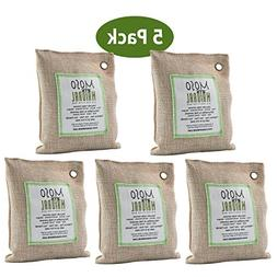 MOSO NATURAL Air Purifying Bag 5 Pack. Bamboo Charcoal Air F