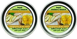 Premium 100% Soy Candles- Set of 2 - 2oz Tins -Green Tea and