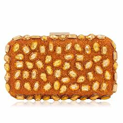 Women Evening Bag Gold Clutches Bags Wedding Party Purple Cl