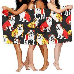 Bulldogs On Black Dogs Pet Adult Soft Microfiber Printed Bea