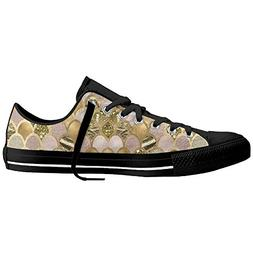 Gold Mermaid Scales Womens Sneakers Casual Canvas Shoes Low