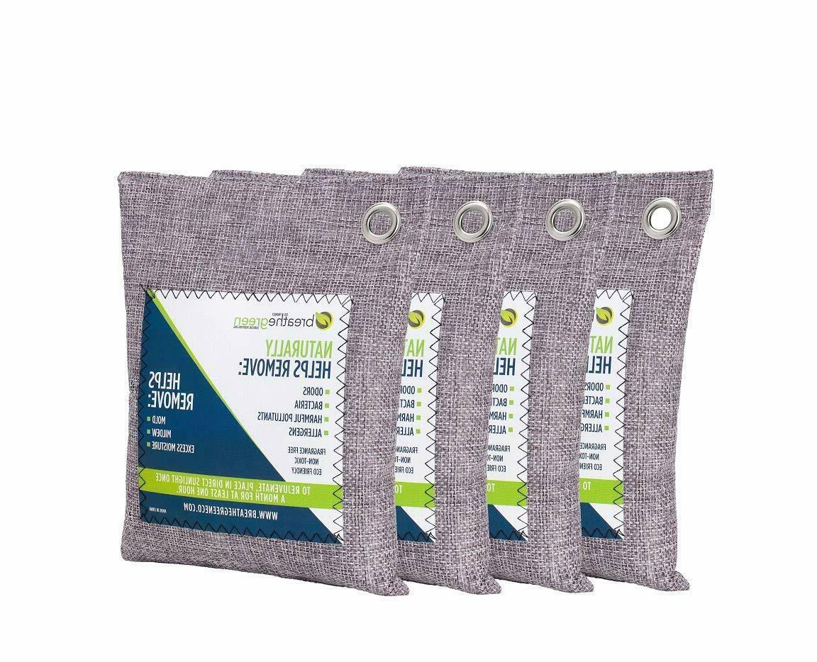 4 Pack Air Purifying Bag Activated Bamboo Charcoal Deodorize