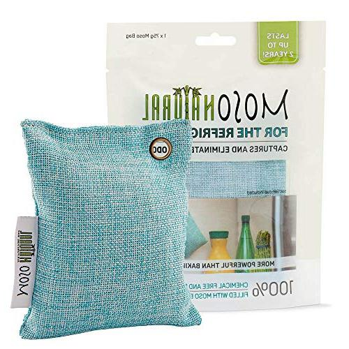 MOSO Bag 2 Pack Bamboo Charcoal Air Deodorizer, Odor Absorber for Fridge and Freezer