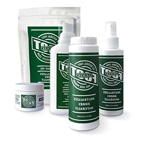 FOOT SENSE All Natural Smelly Powder - Eliminator 6 months. Safely kills bacteria. Natural formula smelly feet.