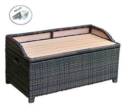 Eight24hours 50 Gallon Patio Rattan Storage Bench Container