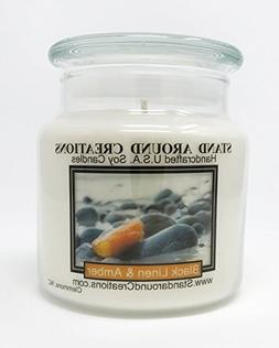 Premium 100% Soy Apothecary Candle - 16 oz.- Black linen and