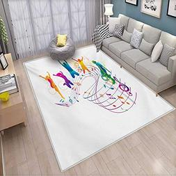 Youth Extra Large Area Rug Active Dancing Jumping People Vib